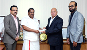 K.M.TRADING GROUP DONATES Rs TWO CRORES THIRTY FIVE LAKHS TO KERALA CM'S FLOOD RELIEF FUND